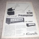 Crown 1c150,D150 Preamp Amp Ad from 1971