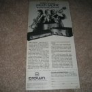 "Crown Multi-Mode Amps Ad from 1982,6""x10"""