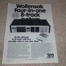 Wollensak 8060 8 Track Ad,1972,Article, QUAD Audio Ad