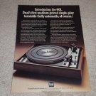 Dual 601 Turntable Ad, 1974, Article,Color, Nice!