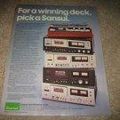 Sansui Cassette Decks Ad from 1978, 5 decks!