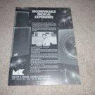 M&K Subwoofer Ad, 1987, Article, 1 pg, Rare Ad!