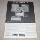 Sony Sterecorder 777 System Ad,1962,Nice! Specs, RARE!