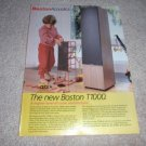 Boston T1000 Speaker Ad from 1985, mint!