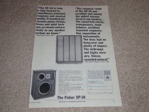 Fisher XP-10 Speaker Ad, Specs, Article, 1964