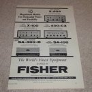 Fisher SA-300-B,SA-100,400-CX,X-100,X202 Amp Ad, 1960