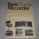 Tape Recorder Guide,1966,20 pgs, Specs, Info,Reel,Cass