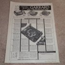 Garrard RC 98, 88, 121 Turntable Ad, 1956, Articles,1pg