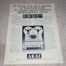 Akai Pro-1000 Studio Open-Reel Deck Ad, 1978,full specs