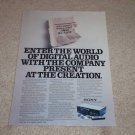 Sony CDP-101 Cd Ad, 1983, 1st one ever! Article, Mint