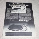 Sanyo TP1030 Turntable Ad, 1978,details, cutaway pic