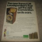Sansui LM330,220,110 Speaker Ad from 1975,RARE!