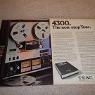 Teac 4300 Open Reel Deck Ad from 1975,2 pages,color!