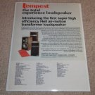 ESS Tempest Ad,1975, Heil Air Tweeter! Article, RARE!