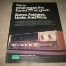 Sansui 771 Receiver Ad from 1974,color,perfect!
