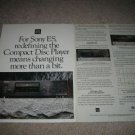 SONY ES X77ES CD,CDP-X33ES,C85ES CD Player AD 1990,2 pg