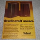 Studiocraft Speaker Ad, 1975,Article, Rare Ad!