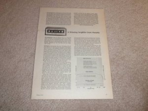 Marantz 1070 Amplifier Review, 1975, 2 pgs, Full Test