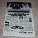 Kenwood KD-3100 Turntable Ad,inside view,article,RARE!