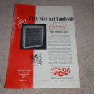 Stephens Continental Speaker Ad, Article, 1956, RARE!