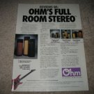 OHM Cylinders,FRS,XO Series Ad from 1989,Perfect!