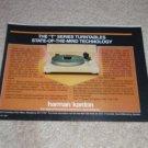"""Harman Kardon T-60 Turntable Ad, 1984,Article,6""""x9"""""""
