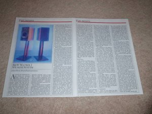 B&W Matrix 1 Speaker Review, 1986, 2 pgs, High-End!