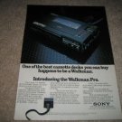 Sony Ad, Walkman Pro Ad from 1982,color,mint!