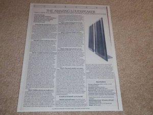 Carver Amazing Speaker Spec Sheet,1 pg,Specs,Info,1987
