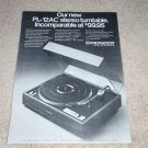 Pioneer PL-12c Turntable Ad, 1972, Article, RARE!