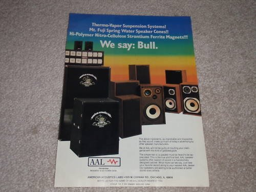 American Acoustics Labs Speaker Ad, 1982,Article, RARE!
