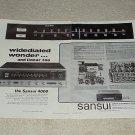 Sansui 4000 Receiver Ad, 1969, Inside View, Specs, 2 pg