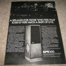 EPI Ad, 500 Speakers from 1980,Rare! Article,1 pg