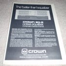 Crown EQ-2 Equalizer Ad from 1978