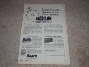 Bogen DB20df Tube Amp Ad,1955,DO30a,Articles, Specs