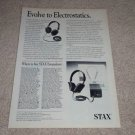 Stax SR-34 Pro,SR-84 Pro Ad, 1989,Article, Headphone Ad