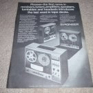 Pioneer Open Reel Ad from 1971, t-8800,6600,6100