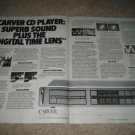 CARVER CD Player Ad from 1985,2 pgs