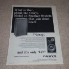 Onkyo Model 15 Scepter Speaker Ad, 1973, 1 pg, Article