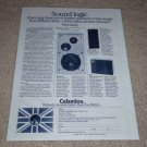 Celestion Ditton 33,15XR,UL6 Speaker Ad,1975,Full Specs