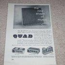 """QUAD Speaker, Tube Amp Ad, 1955,Article,6""""x9"""""""