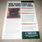 Carver LIGHTSTAR,TFM-35x,AV-806x Amp Ad from 1996,RARE!