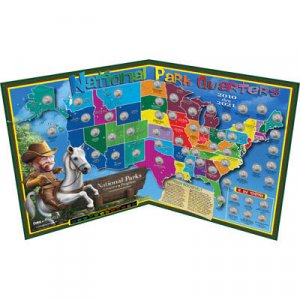 National Park Map~Holds 56 P or D Quarters-Supplies