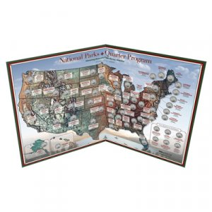 National Parks Map~Holds 56 P OR D Mint Quarters