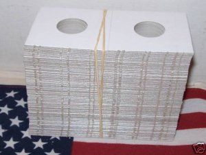 2x2 COIN HOLDER 100-Cardboard Mylar FLIPS (HALF DOLLAR)