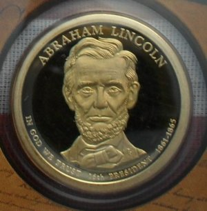 2010 S PROOF ABE LINCOLN~5-PRESIDENTIAL DOLLAR COINS
