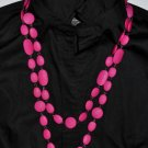 Pink Flat Stone Double Necklace