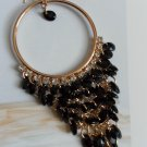 Earrings - Gold Shade Hoops with Black Accents/Shells