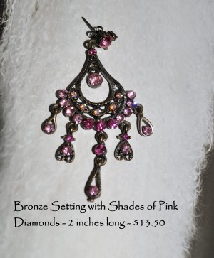 Earrings -  Bronze Setting with Shades of Pink Stones