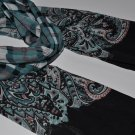 SCARF  Scarf - Aqua Blue & Black 3 Patterned Scarf